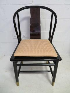 Fabulous Set of Six Scene Three Asian Style Lacquered Dining Chairs Henredon - 1789959