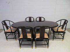 Fabulous Set of Six Scene Three Asian Style Lacquered Dining Chairs Henredon - 1789967