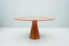Fantastic Circular Red Brown Marble Dining Table Italy 1970 - 1701854