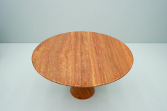 Fantastic Circular Red Brown Marble Dining Table Italy 1970 - 1701857