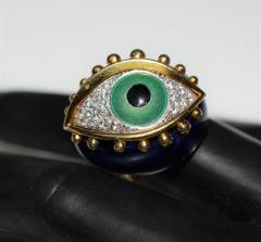 Fantastic Surreal Eye Ring Enamel 18k Diamonds - 1697201