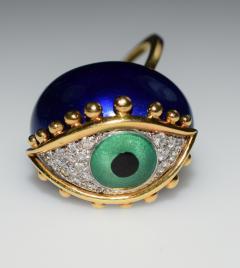 Fantastic Surreal Eye Ring Enamel 18k Diamonds - 1697203