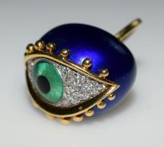Fantastic Surreal Eye Ring Enamel 18k Diamonds - 1697204