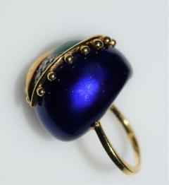 Fantastic Surreal Eye Ring Enamel 18k Diamonds - 1697207