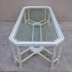 Faux Bamboo White Maison Jansen Style Coffee Table - 95307