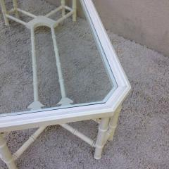 Faux Bamboo White Maison Jansen Style Coffee Table - 95313