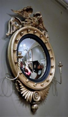 Federal Carved and Gilt Girandole Convex Mirror - 753761