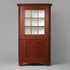 Federal Red Painted Corner Cupboard - 59487