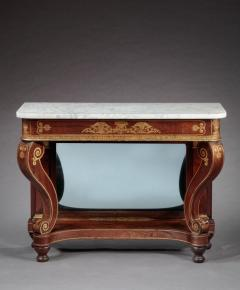 Federal Stencil Decorated Marble Top Pier Table - 678611