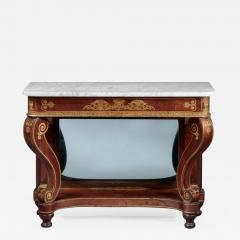 Federal Stencil Decorated Marble Top Pier Table - 679567