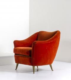 Federico Munari FEDERICO MUNARI for ISA Velvet armchairs on bronze feet circa 1950 Italy  - 883415