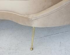 Federico Munari Federico Munari Curved Form Brass Legged Italian Blush Velvet Upholstered Sofa - 1034520