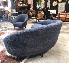 Federico Munari Federico Munari Mid Century Italian large curved sofa 1950s Re Upholstery - 963214