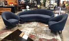 Federico Munari Federico Munari Mid Century Italian large curved sofa 1950s Re Upholstery - 963219