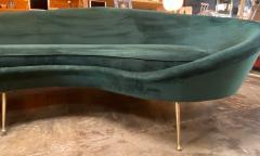 Federico Munari Federico Munari StyIe Green Velvet Curved Sofa with Brass Legs Italy 1960s - 1201030