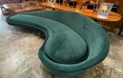 Federico Munari Federico Munari StyIe Green Velvet Curved Sofa with Brass Legs Italy 1960s - 1201033