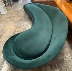Federico Munari Federico Munari StyIe Green Velvet Curved Sofa with Brass Legs Italy 1960s - 1201035