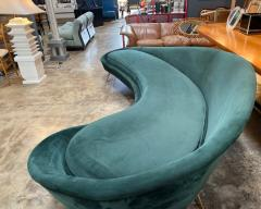 Federico Munari Federico Munari StyIe Green Velvet Curved Sofa with Brass Legs Italy 1960s - 1201036