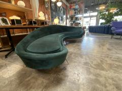 Federico Munari Federico Munari StyIe Green Velvet Curved Sofa with Brass Legs Italy 1960s - 1201037