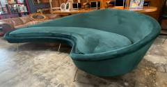 Federico Munari Federico Munari StyIe Green Velvet Curved Sofa with Brass Legs Italy 1960s - 1201040