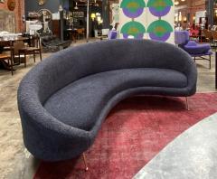 Federico Munari Midcentury Italian Blue Wool Sheep Curved Sofa by Federico Munari - 1448462