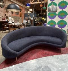 Federico Munari Midcentury Italian Blue Wool Sheep Curved Sofa by Federico Munari - 1448463