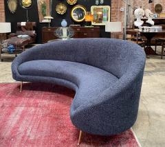 Federico Munari Midcentury Italian Blue Wool Sheep Curved Sofa by Federico Munari - 1448464