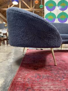 Federico Munari Midcentury Italian Blue Wool Sheep Curved Sofa by Federico Munari - 1448466