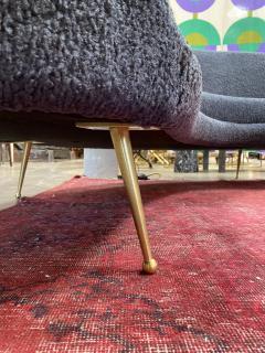 Federico Munari Midcentury Italian Blue Wool Sheep Curved Sofa by Federico Munari - 1448467