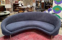 Federico Munari Midcentury Italian Blue Wool Sheep Curved Sofa by Federico Munari - 1448469