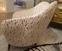 Federico Munari Pair of Federico Munari Italian Midcentury Ivory Charcoal Velvet Lounge Chairs - 768917