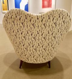 Federico Munari Pair of Federico Munari Italian Midcentury Ivory Charcoal Velvet Lounge Chairs - 768918