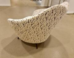 Federico Munari Pair of Federico Munari Italian Midcentury Ivory Charcoal Velvet Lounge Chairs - 768920