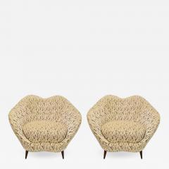 Federico Munari Pair of Federico Munari Italian Midcentury Ivory Charcoal Velvet Lounge Chairs - 770552