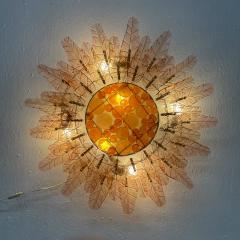 Felipe Derflinger Feders Fabulous Sun Flower Glass Wall Sconce by Felipe Delfinger Mexico 1970s - 1983036