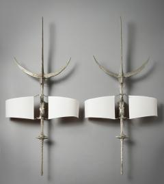 Felix Agostini Hallebarde Pair of Nickeled Bronze Sconces - 512302