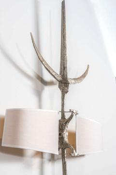 Felix Agostini Hallebarde Pair of Nickeled Bronze Sconces - 512305