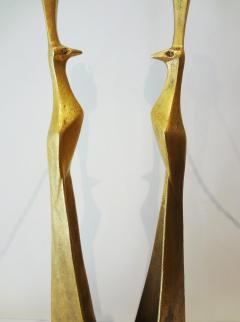 Felix Agostini Pair of gilt bronze peacock lamps by Felix AGOSTINI 1960s  - 1005663