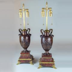 Ferdinand Barbedienne A Fine Pair of Neo Classical Revival Bronze Urns Mounted as Lamps - 2034311