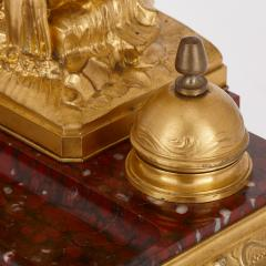Ferdinand Barbedienne Antique red marble and gilt bronze inkstand by Barbedienne after Caffieri - 1290625