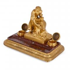 Ferdinand Barbedienne Antique red marble and gilt bronze inkstand by Barbedienne after Caffieri - 1290627