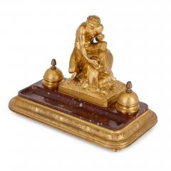 Ferdinand Barbedienne Antique red marble and gilt bronze inkstand by Barbedienne after Caffieri - 1290629