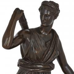 Ferdinand Barbedienne Classical Patinated Bronze Sculpture of Diana by Ferdinand Barbedienne - 1937782