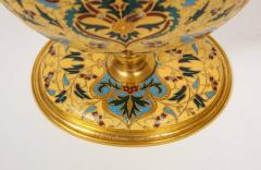 Ferdinand Barbedienne Extremely Rare Pair of Ferdinand Barbedienne Ormolu and Champleve Enamel Vases - 1168991