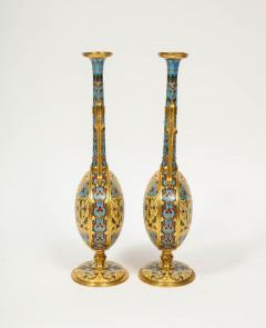 Ferdinand Barbedienne Extremely Rare Pair of Ferdinand Barbedienne Ormolu and Champleve Enamel Vases - 1168993