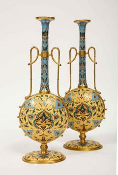 Ferdinand Barbedienne Extremely Rare Pair of Ferdinand Barbedienne Ormolu and Champleve Enamel Vases - 1168994