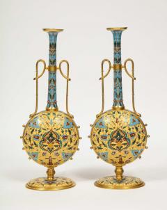 Ferdinand Barbedienne Extremely Rare Pair of Ferdinand Barbedienne Ormolu and Champleve Enamel Vases - 1168995