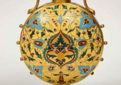 Ferdinand Barbedienne Extremely Rare Pair of Ferdinand Barbedienne Ormolu and Champleve Enamel Vases - 1168997