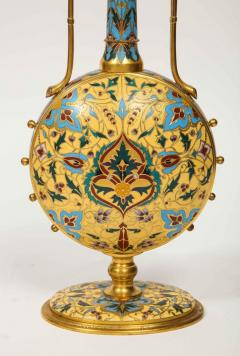Ferdinand Barbedienne Extremely Rare Pair of Ferdinand Barbedienne Ormolu and Champleve Enamel Vases - 1168998