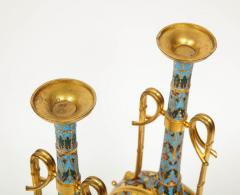 Ferdinand Barbedienne Extremely Rare Pair of Ferdinand Barbedienne Ormolu and Champleve Enamel Vases - 1168999